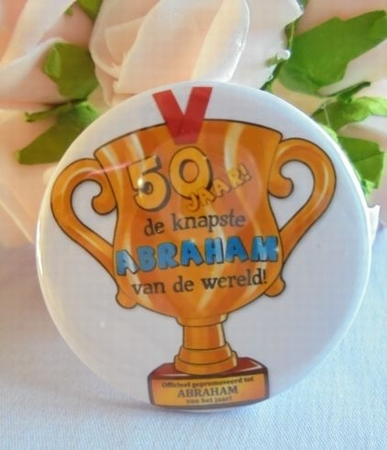 button abraham 50 jaar beker ca 58 mm