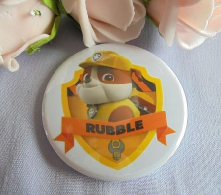 button paw patrol rubble  ca 58 mm