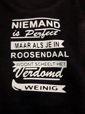 auto t-shirt niemand is perfect maar ... roosendaal wit